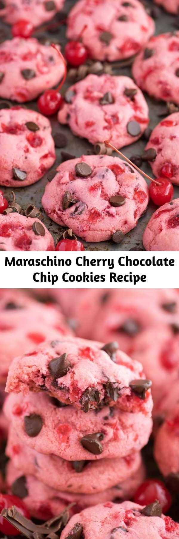 Maraschino Cherry Chocolate Chip Cookies Recipe - Thick & chewy maraschino cherry chocolate chip cookie recipe! Candied cherry cookie recipe. #cherrycookies #maraschinocherrycookies #cookies #cherrychocolatechipcookies