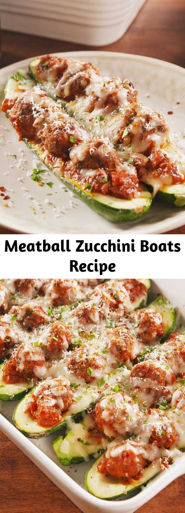 Meatball Zucchini Boats Recipe - Meatball Zucchini Boats are the low-carb, high-protein way to eat a meatball sub. Want to go even MORE low-cal? Try these with ground turkey or chicken instead! #healthyrecipes #easyrecipes #meatballs #zuccchiniboats