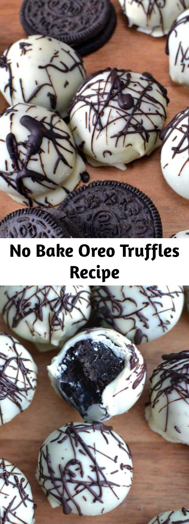 No Bake Oreo Truffles Recipe - These no bake Oreo Truffles have a sweet outer chocolate shell that surrounds a decadent, chocolate Oreo filling- and you only need 4 ingredients! #nobake #Oreos