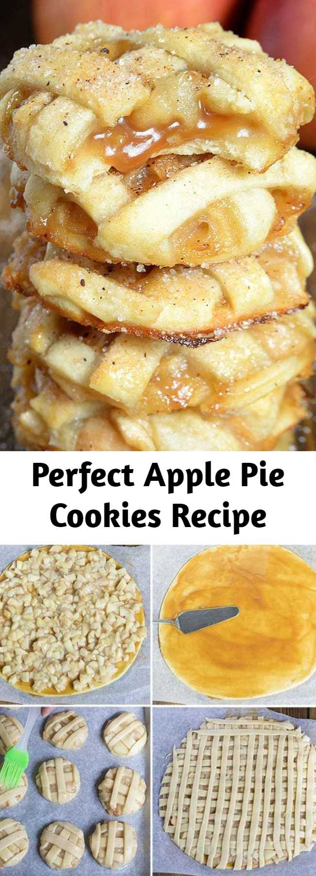 Perfect Apple Pie Cookies Recipe - Apple Pie Cookies – sticky and chewy, bite-sized caramel apple pies. Sometimes the regular old apple pie recipe is just too much dessert to handle. These gooey bites bring you the best of both worlds: the fruity-caramel flavor of traditional pie, with all of the convenience of a simple cookie recipe! (No fork required!!!)