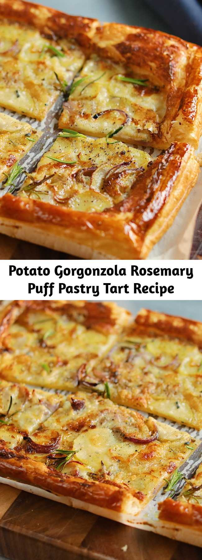 Potato Gorgonzola Rosemary Puff Pastry Tart Recipe - Your weeknight dinners just got a whole lot more exciting.