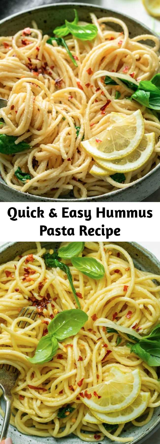 Quick & Easy Hummus Pasta Recipe - This creamy vegan Hummus Pasta is a healthy Mediterranean inspired recipe! It's all made in one pot and ready in 15 minutes - perfect for a weeknight meal! #vegan #dinner #weeknight