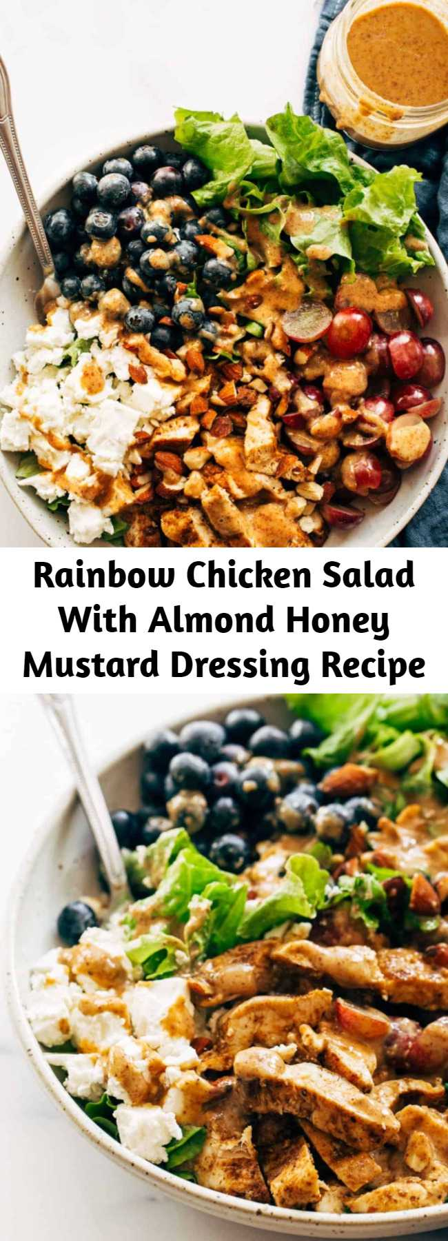 Rainbow Chicken Salad With Almond Honey Mustard Dressing Recipe - This Rainbow Chicken Salad is topped with the most creamy and delicious homemade Almond Honey Mustard Dressing. Perfect for lunch or dinner! #glutenfree #healthy #salad #quickandeasyrecipe #healthyrecipe