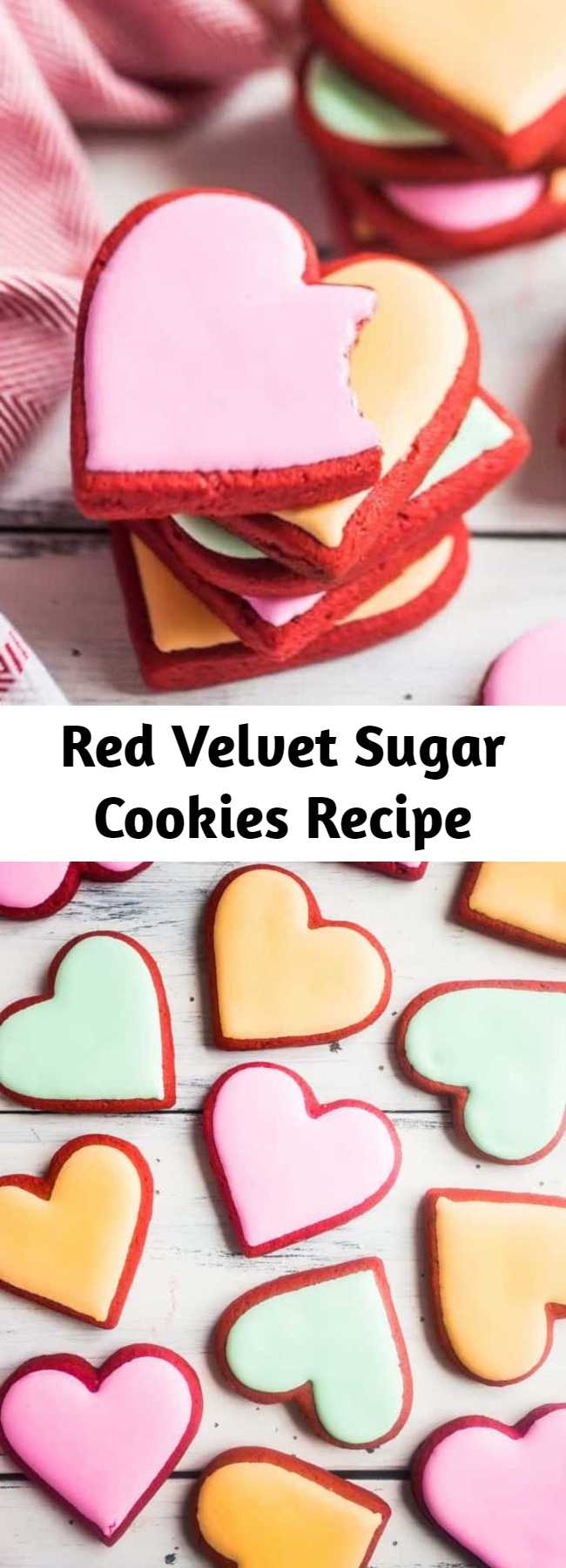 Red Velvet Sugar Cookies Recipe - These red velvet sugar cookies will make your day! Soft & tender, fun & brightly colored, with a hint of cocoa & a slight cream cheese tang. #redvelvet #cookies #recipe #dessert #valentinesday #fromscratch #easy #christmas #withcreamcheese #valentinesday #cutout #homemade #best #chewy #soft #heart #simple #decorated #moist #creamcheese #nochill #sugar