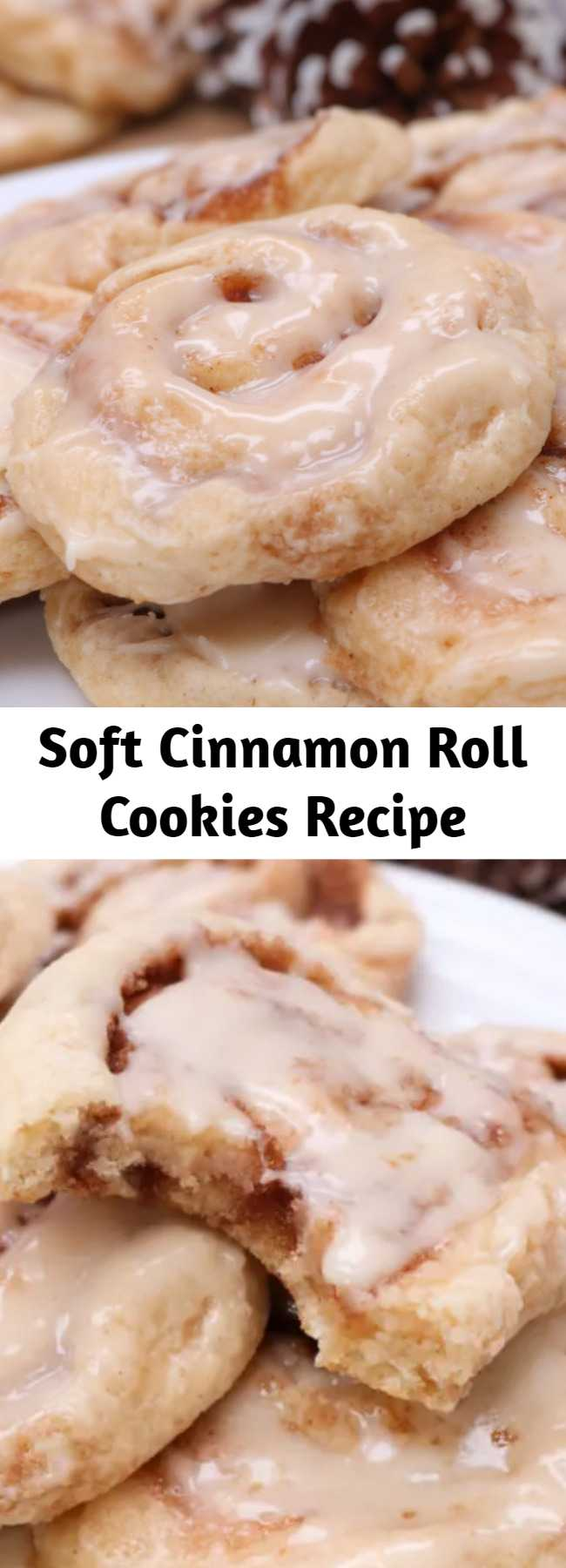 Soft Cinnamon Roll Cookies Recipe - A soft sugar cookie reminiscent of a cinnamon roll! Glazed with cream cheese glaze with swirls of cinnamon sugar. #cookies #cinnamonroll #soft #fluffy #desserts #homemade #chewy