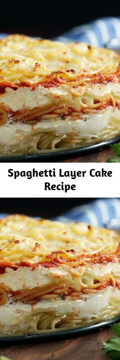 Spaghetti Layer Cake Recipe - Because spaghetti pie was so last season, enjoy it now in cake form with layers of pasta, bolognese, mozzarella, ricotta and more.