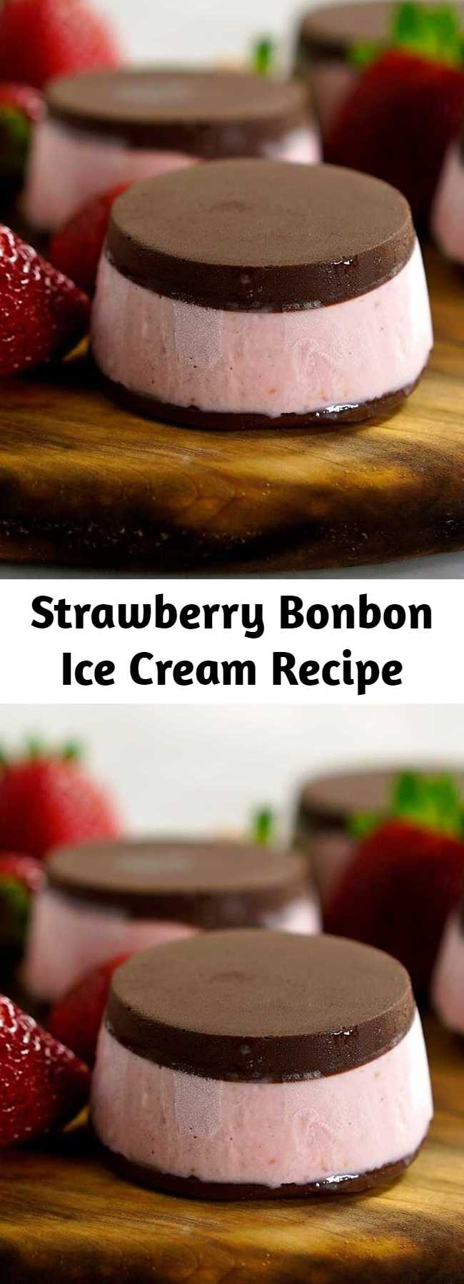Strawberry Bonbon Ice Cream Recipe - Think of this as rich and fruity strawberry ice cream sandwiched between two incredible chocolate discs.