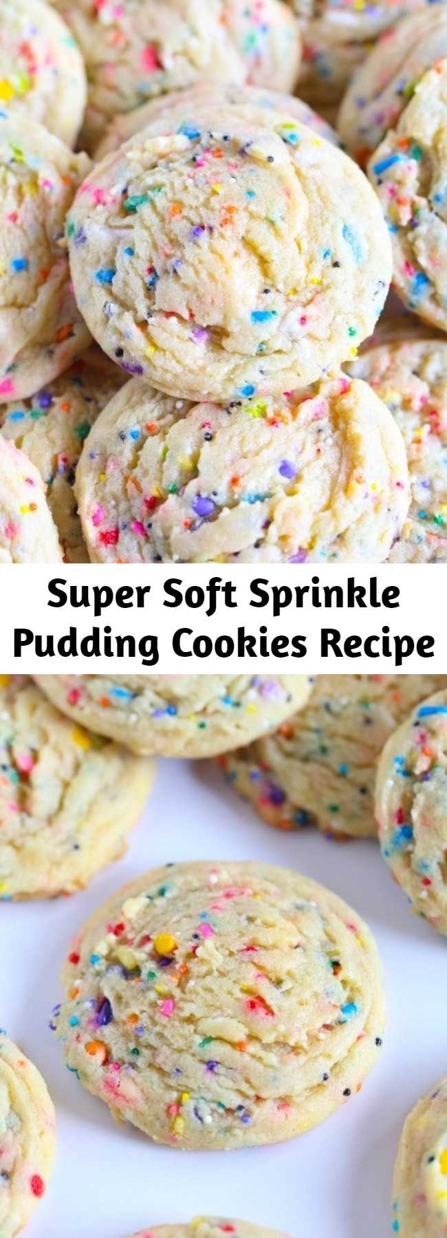 Super Soft Sprinkle Pudding Cookies Recipe - These soft sprinkle sugar cookies are made with a pudding mix! These SUPER SOFT Sprinkle Pudding cookies are so so easy and loaded with vanilla flavor! This is the best sprinkle cookie recipe to make because it's so easy, buttery, and delicious!