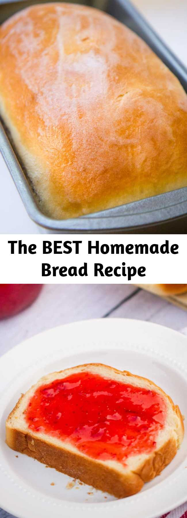 The BEST Homemade Bread Recipe - Delicious homemade bread - The BEST bread recipe that's super soft and has the perfect touch of sweetness. Top it with fresh homemade jam for the ultimate treat. There's nothing better than a slice of homemade bread! #bread #homemade #recipes #best #loaf