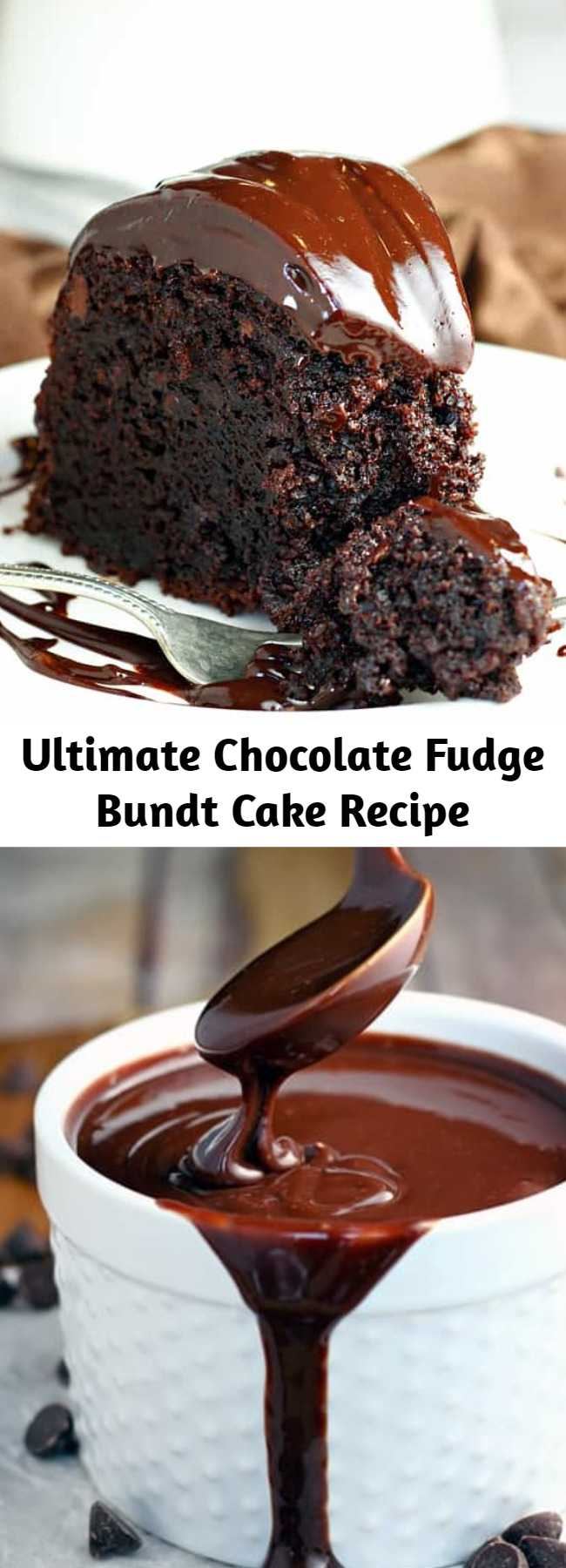 Ultimate Chocolate Fudge Bundt Cake Recipe - This amazing chocolate cake starts with a cake mix and couldn't be easier or more decadent.
