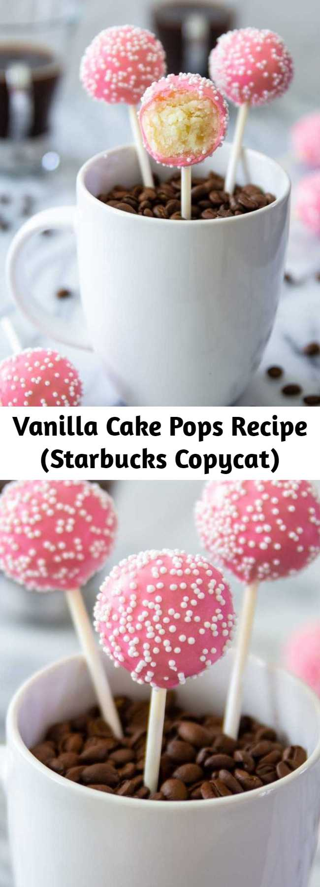 Vanilla Cake Pops Recipe (Starbucks Copycat) - This cake pops recipe is a copycat of Starbucks' birthday cake pop. This little treat is a combination of vanilla cake, frosting, and pink candy coating. The best foolproof cake pop recipe ever. #cakepops #vanillacakepops #starbuckscakepops #starbuckscopycat #bestcakepoprecipe