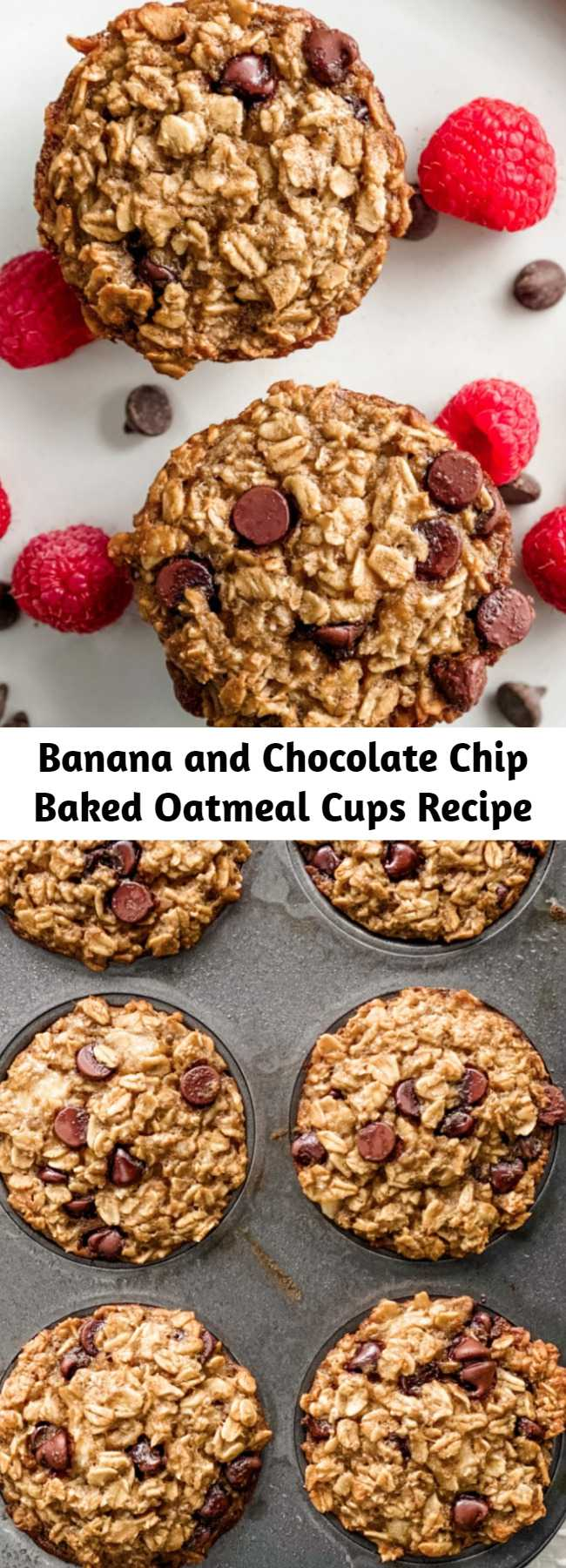 Banana and Chocolate Chip Baked Oatmeal Cups Recipe - At just 200 calories and 6 Weight Watcher points, you can meal prep these delicious Banana and Chocolate Chip Oatmeal Cups for breakfast all week!