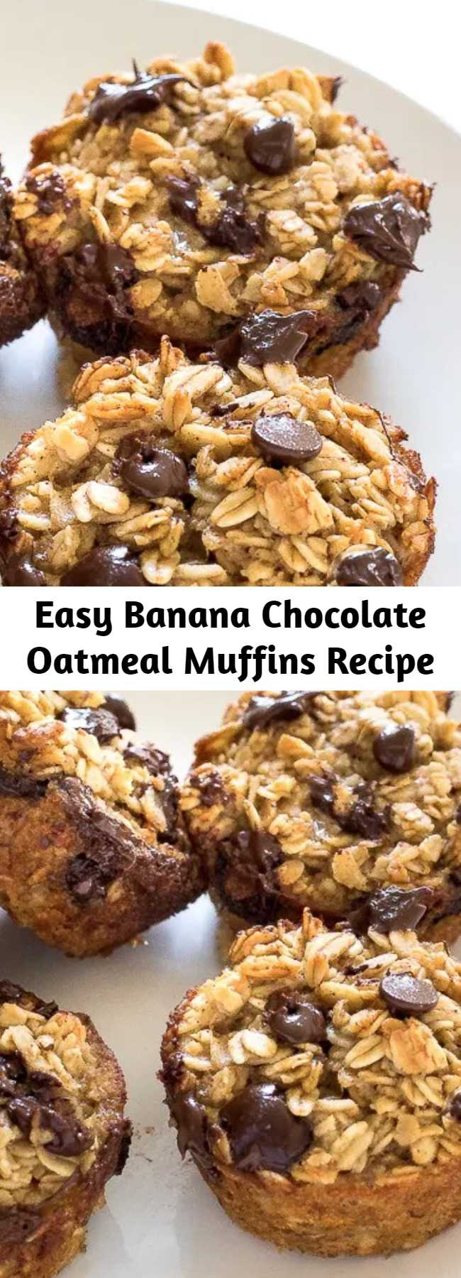 Easy Banana Chocolate Oatmeal Muffins Recipe - Healthy Banana Chocolate Chip Oatmeal Muffins. Made with honey, oats, bananas, coconut oil and chocolate chips! A freezer friendly breakfast or snack!