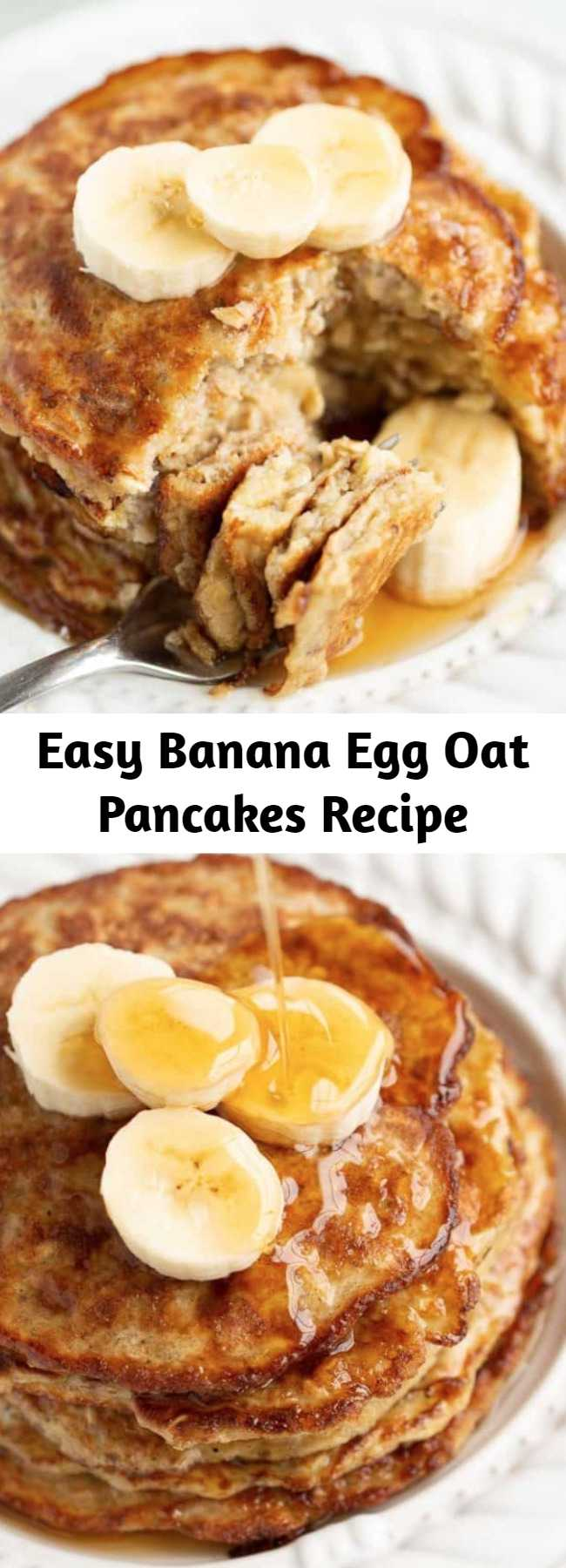 Easy Banana Egg Oat Pancakes Recipe - You only need 3-ingredients (banana, eggs and oats) to make these healthy, delicious pancakes. EASY, kid-friendly and perfect for using up bananas. Add a spoonful of peanut butter and a pinch of cinnamon to take these to the next level! #bananapancakes #bananaeggpancakes #healthypancakes #glutenfreepancakes