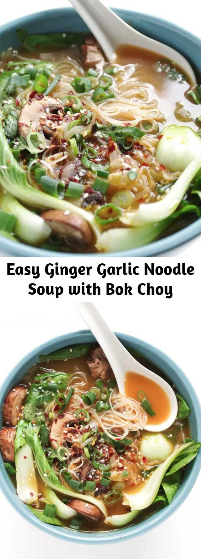 Easy Ginger Garlic Noodle Soup with Bok Choy Recipe - Ginger Garlic Noodle Soup with Bok Choy Ginger Garlic Noodle Soup with Bok Choy is a nutritious, comforting, and flu-fighting twenty-minute recipe made with homemade vegetarian broth, noodles, mushrooms, and baby bok choy. Easily make it your own by adding chicken, shrimp, spicy chilis, or other veggies.