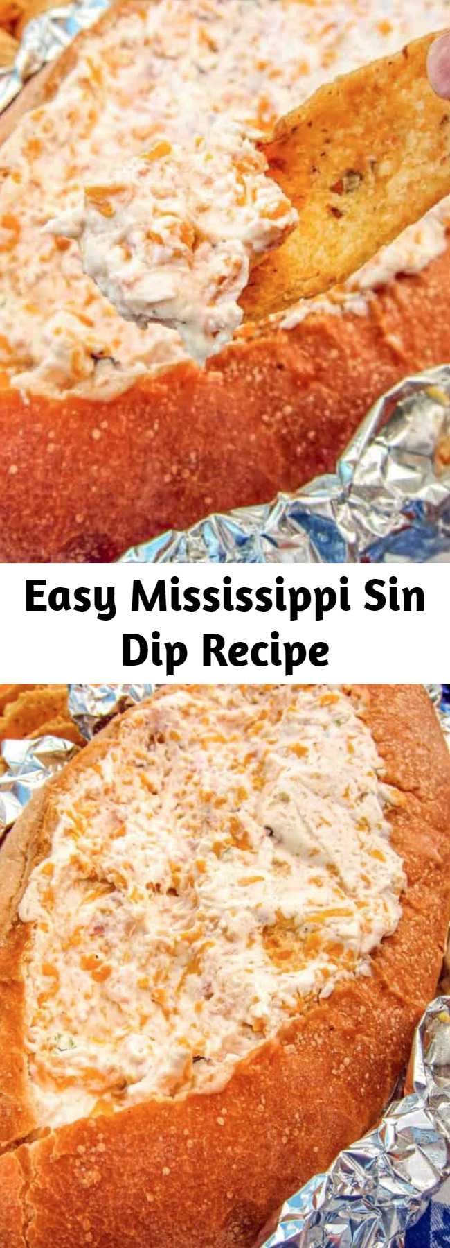 Easy Mississippi Sin Dip Recipe - ham, sour cream, cream cheese cheddar and ham baked in a bread bowl - SINFUL! There is never any left when I take this to a party! Everyone asks for the recipe. What's not to love???