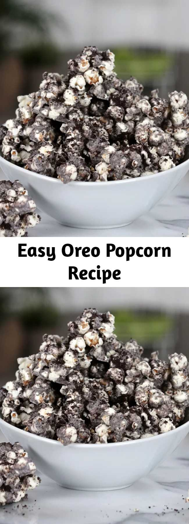 Easy Oreo Popcorn Recipe - Your snacking just got a whole lot better with this easy upgrade for regular old popcorn. With a cookies and cream coating and crushed Oreos on top, this popcorn is a heavenly pairing with a good Summer blockbuster.