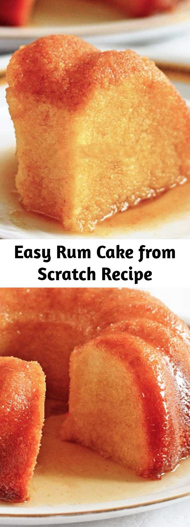Easy Rum Cake from Scratch Recipe - Rum Cake from Scratch is dense, rich and soaked with flavorful thick butter rum sauce. Great for every party!