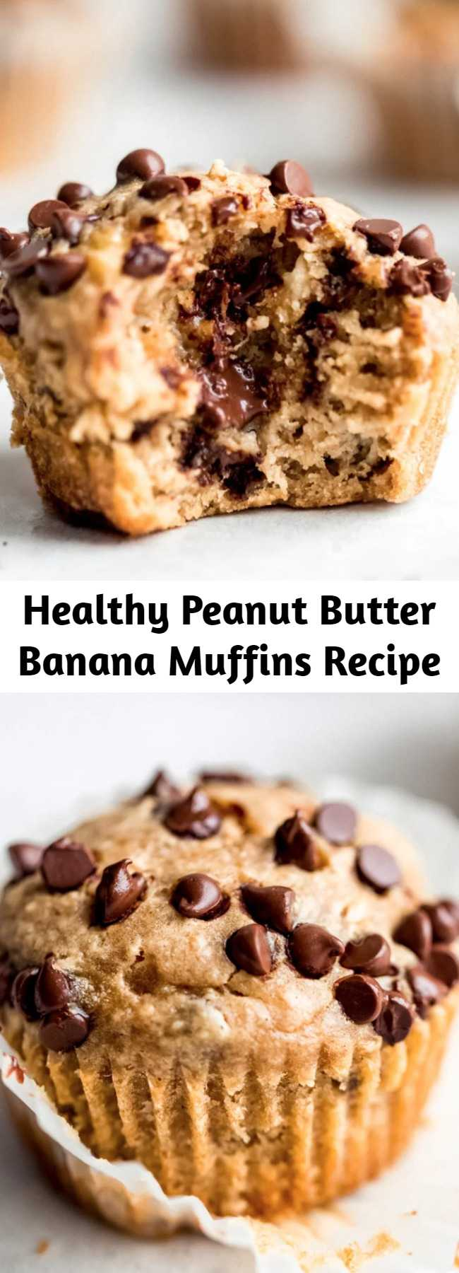 Healthy Peanut Butter Banana Muffins Recipe - The BEST peanut butter banana muffins that are packed with protein and peanut butter flavor. Naturally sweetened with pure maple syrup, gluten free thanks to oat flour and a great on-the-go healthy breakfast or snack. Try them with mini chocolate chips! #glutenfree #glutenfreesnack #dairyfree #kidfriendly #kidfood #muffins #muffinrecipe #peanutbutter #healthysnack