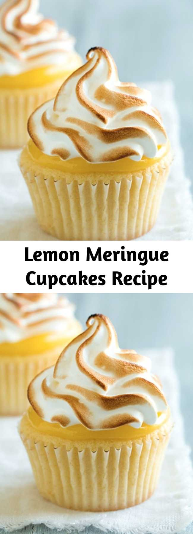 Lemon Meringue Cupcakes Recipe - Lemon meringue pie is such a classic dessert and every classic dessert must be created into a cupcake version right? You get a soft cupcake base, a bright creamy lemon curd, and it's finish with a light as air meringue topping.