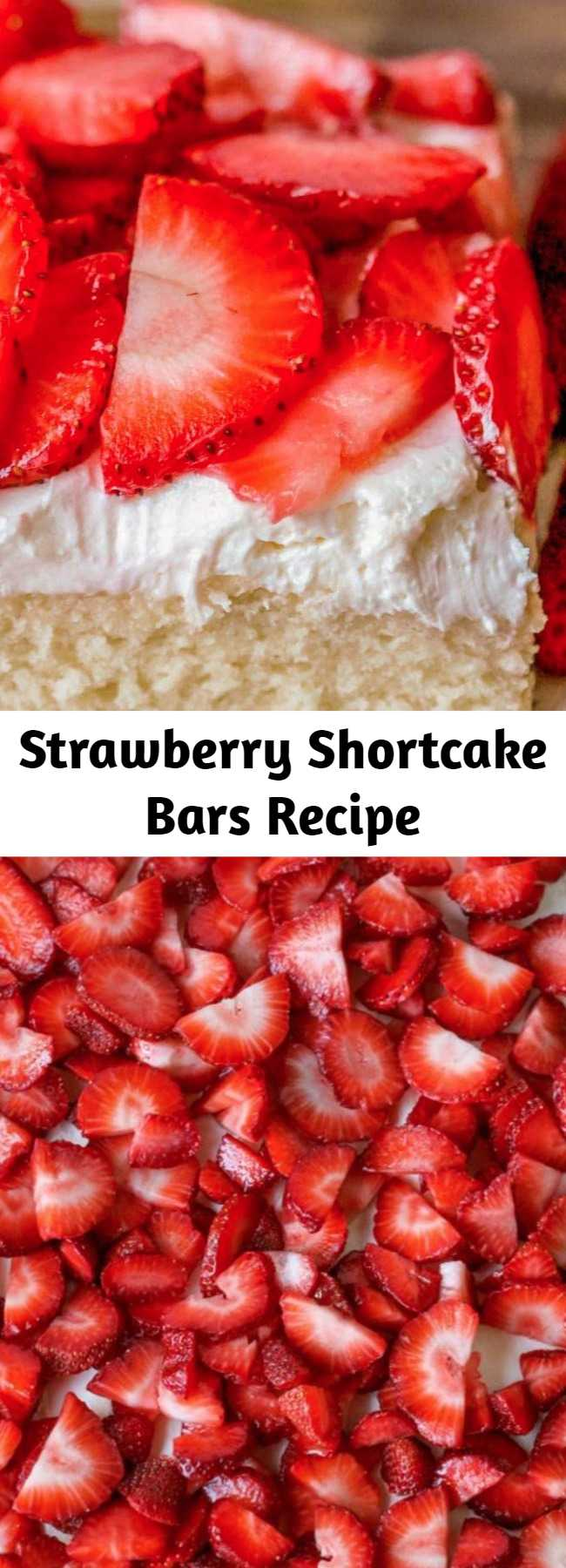 Strawberry Shortcake Bars Recipe - A soft vanilla cake-like crust perfectly combines with a light layer of whipped cream cheese frosting. Top it off with fresh strawberries for delicious strawberry shortcake bars!