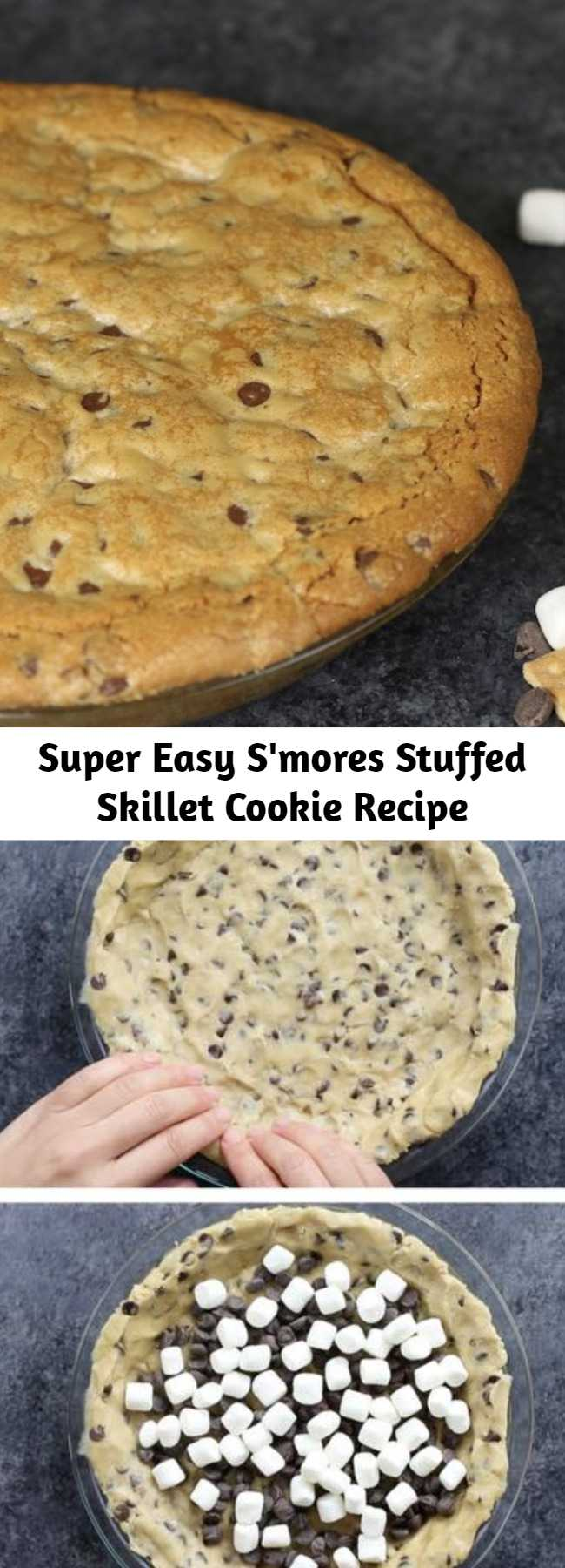 Super Easy S'mores Stuffed Skillet Cookie Recipe - This S'mores Stuffed Skillet Cookie is chocolate chip cookie dough stuffed with marshmallows, chocolate chips and graham crackers. It's a drool-worthy dessert that's perfect for a party and sharing with your best friends!