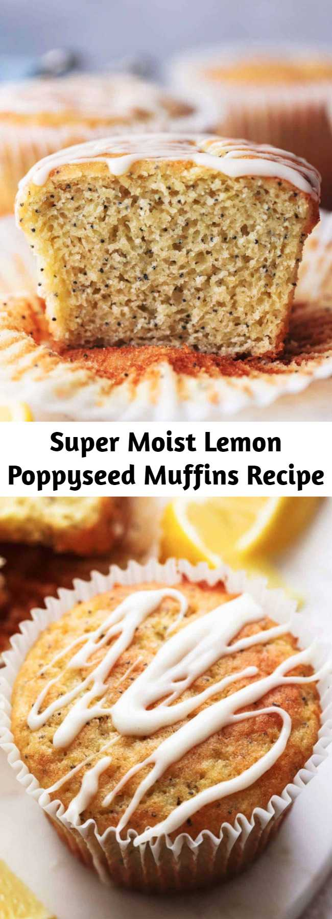 Super Moist Lemon Poppyseed Muffins Recipe - Incredibly tasty, luscious lemon poppyseed muffins made super-moist with Greek yogurt and topped with sweet and tangy cream cheese lemon glaze!