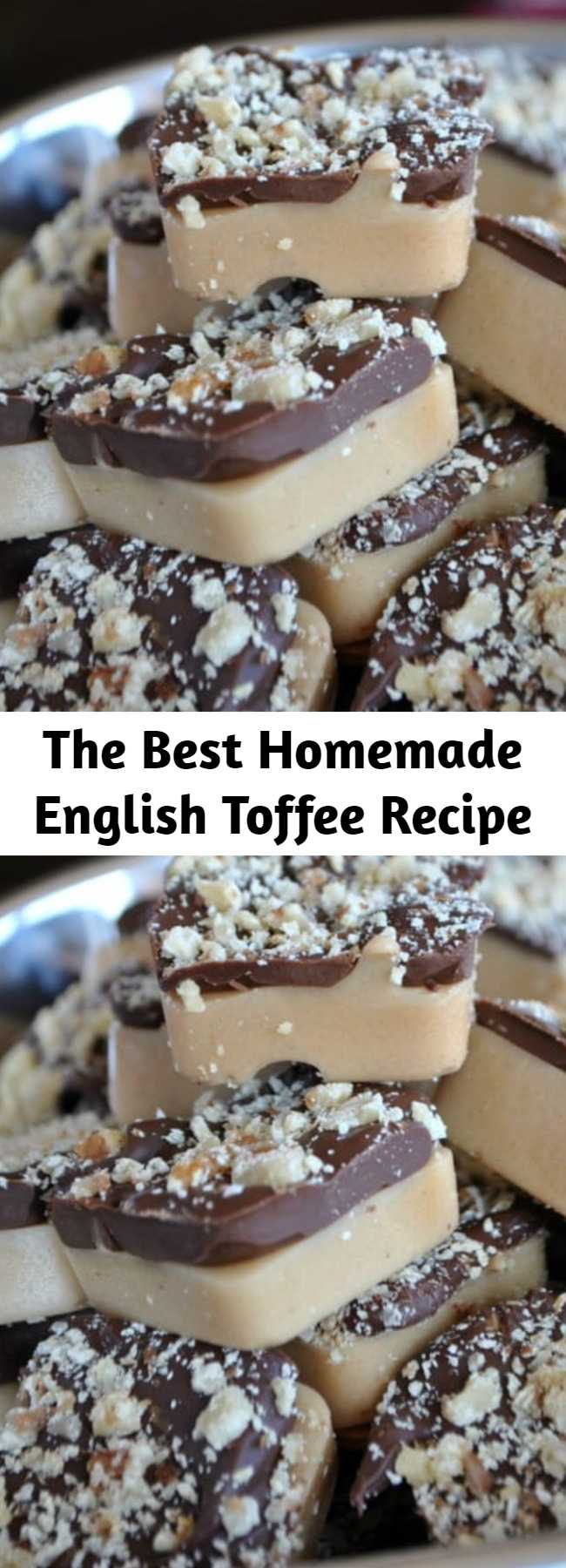 The Best Homemade English Toffee Recipe - English Toffee is a classic holiday candy: buttery candy poured over almonds, topped with milk chocolate and walnuts. Make it in a brownie bite pan to get the cutest toffee bites – perfect for gifting!