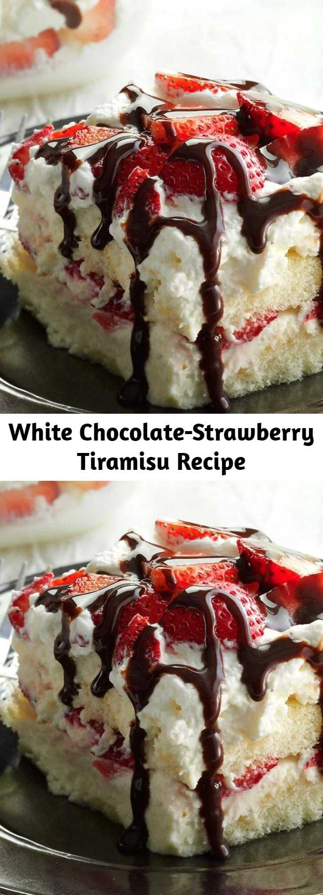 White Chocolate-Strawberry Tiramisu Recipe - Here's a twist on a classic dessert that highlights another flavor combo my husband and I love: strawberries and white chocolate. Lighten it up if you'd like—I've had good luck with light nondairy whipped topping and reduced-fat cream cheese.