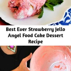 This light and fluffy no-bake strawberry cake recipe is a nostalgic dessert that my mom used to make when I was a kid! With store-bought angel food cake, Jello, Cool Whip and frozen strawberries, this easy dessert recipe is great for sharing with family or taking to a party.