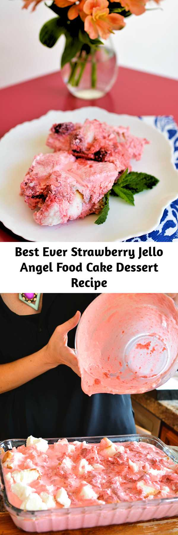 Best Ever Strawberry Jello Angel Food Cake Dessert Recipe