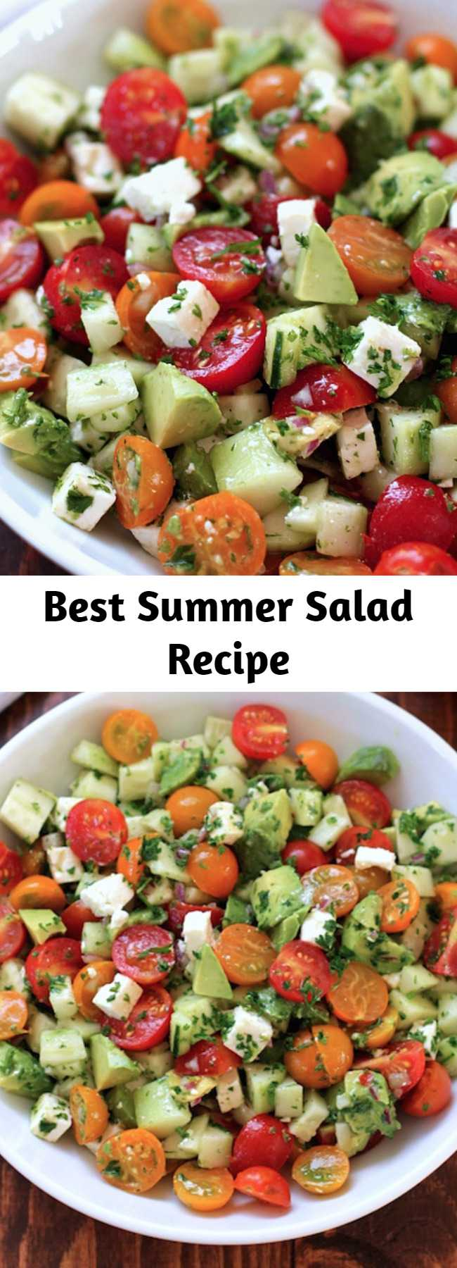 Best Summer Salad Recipe - This tomato, cucumber, avocado salad is an easy, healthy, flavorful summer salad.  It's crunchy, fresh and simple to make.  It's a family favorite and ready in less than 15 minutes.