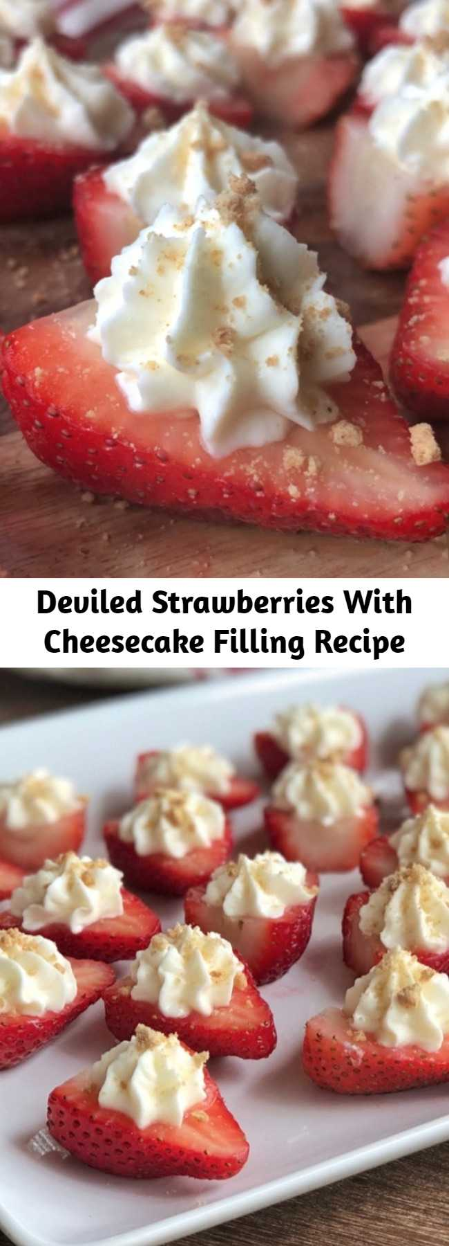 Deviled Strawberries With Cheesecake Filling Recipe - Looking for easy party appetizers for a crowd? This easy finger food idea is always a hit! They taste just like strawberry cheesecake, but in fun bite sized pieces. Quick and make ahead party food! #partyfood #deviledstrawberries