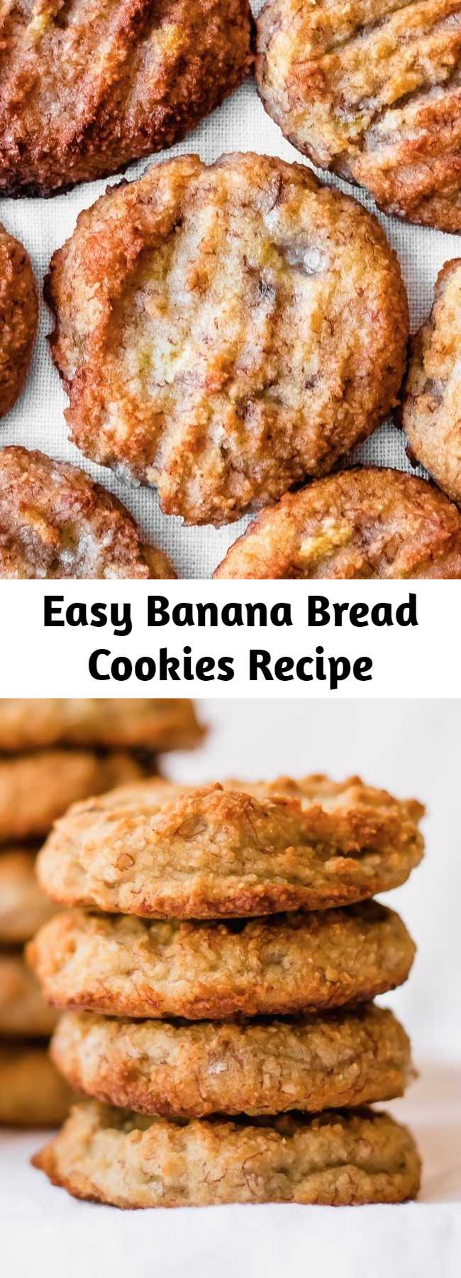 Easy Banana Bread Cookies Recipe - Banana bread cookies are a delicious and healthy treat the whole family will enjoy. These banana bread cookies are gluten free, vegan, paleo, and full of banana flavor - with just a hint of cinnamon. You'll love this EASY banana bread cookie recipe! It's naturally sweetened, moist, and healthy. Don't forget to pin this to your paleo banana recipes board! #glutenfree #bananas #paleo #vegan #healthy #healthytreats #cookies #bananacookies #bananabread #dairyfree