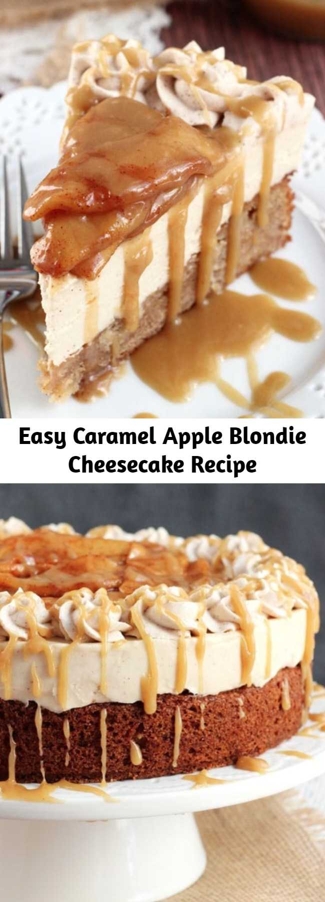 Easy Caramel Apple Blondie Cheesecake Recipe - This Caramel Apple Blondie Cheesecake is pure caramel apple heaven, I kid you not. It has layers of apple spice blondie and no-bake caramel cheesecake, and it's topped with cinnamon apples and caramel sauce!