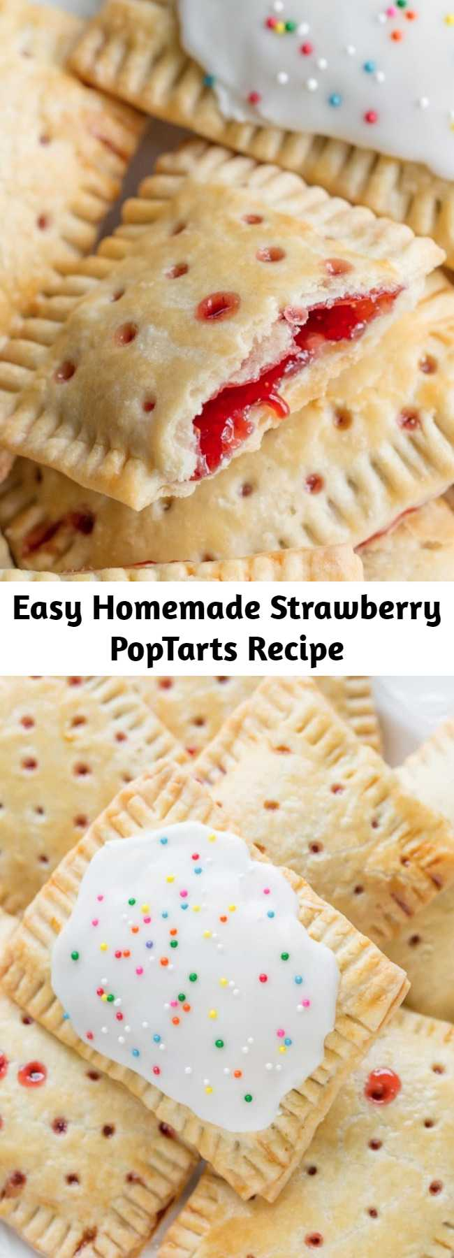 Easy Homemade Strawberry PopTarts Recipe - Flaky pastry filled with homemade strawberry jam or your favorite pie filling. #poptarts #strawberry #handpies #strawberrypie #strawberrypoptarts #flakycrust