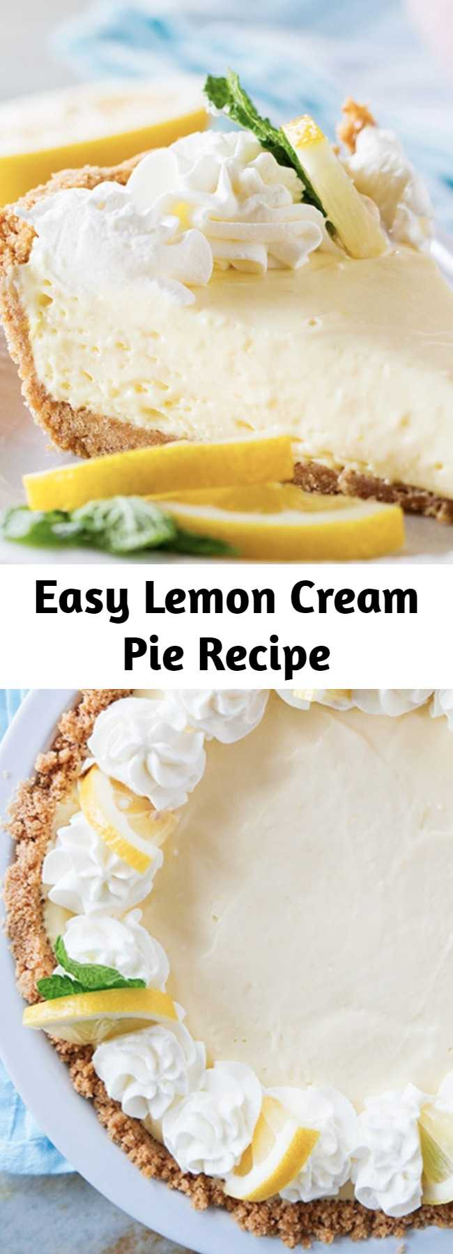 Easy Lemon Cream Pie Recipe - A simple lemon pie is only a few ingredients away! This Lemon Cream Pie comes together with very little prep, is practically fail-proof, and is a pie everyone will love!