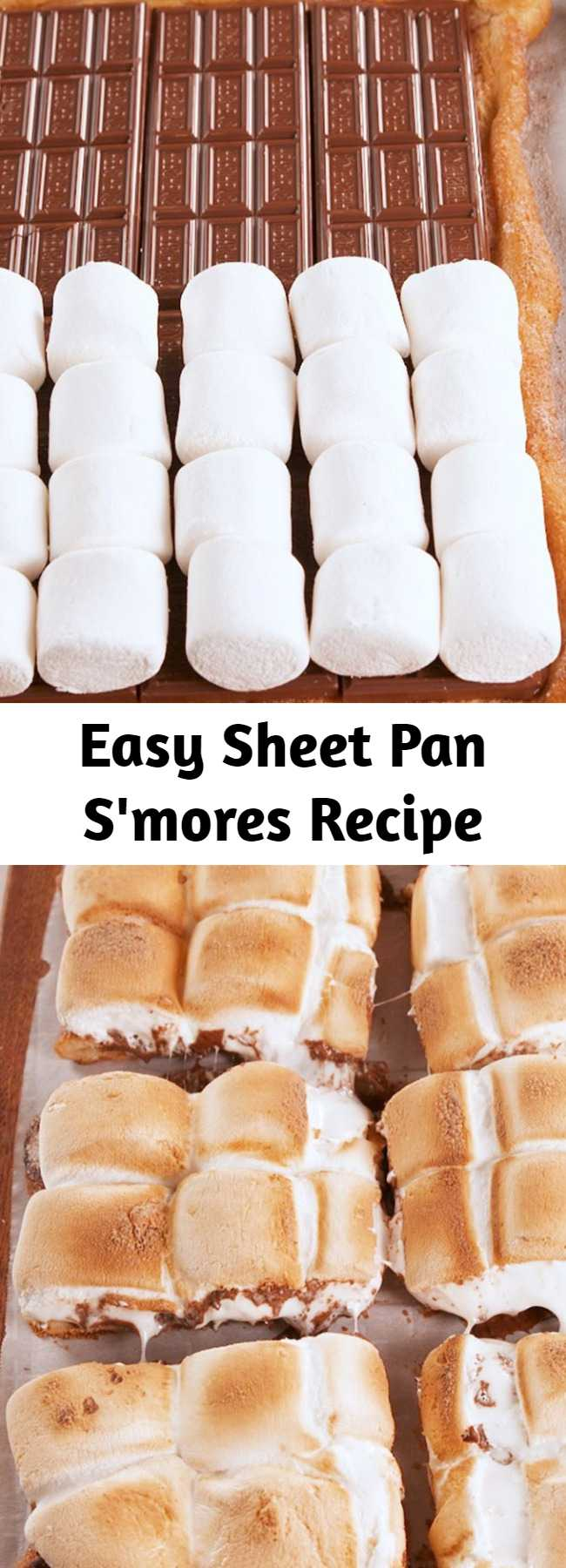 Easy Sheet Pan S'mores Recipe - The only problem we had with s'mores is that we couldn't eat them 365 days a year. Enter: Sheet Pan S'mores. S'mores all day, everyday. It's the best way to serve s'mores to a crowd, too. #easy #recipe #sheetpansmores #smores #summerrecipes #summerdessert #summerparty #memorialdaydessert #fourthofjuly