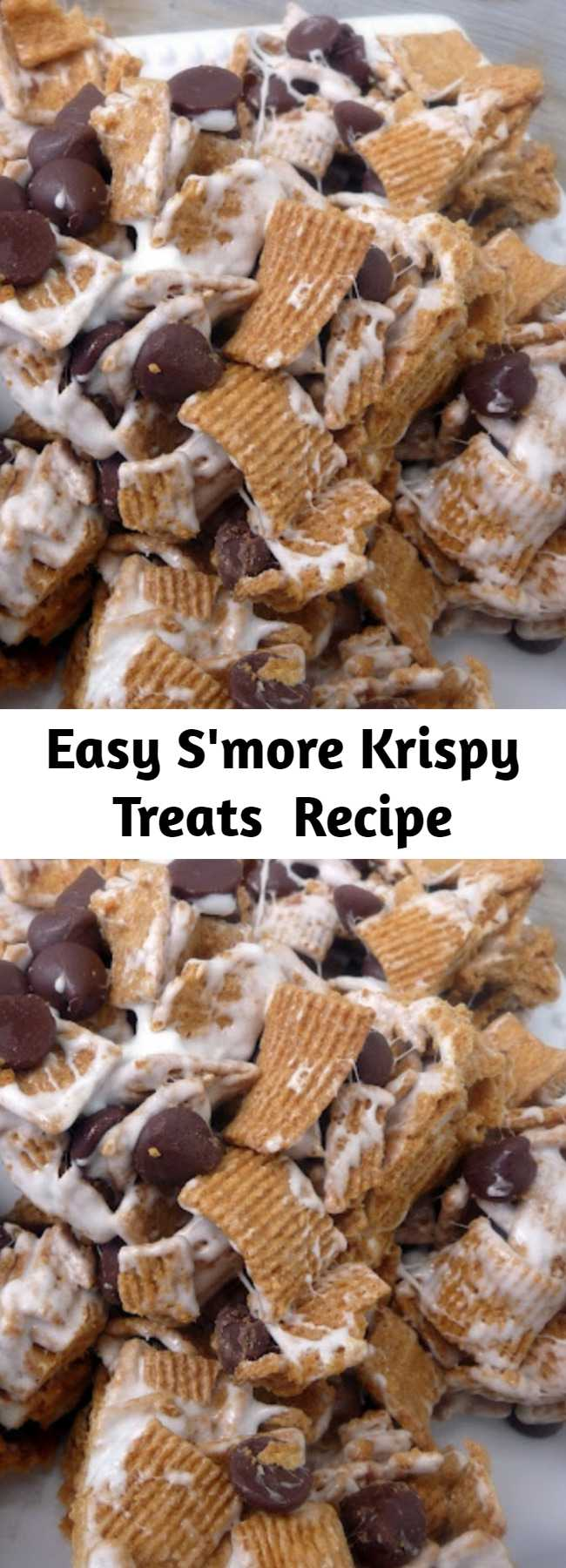 Easy S'more Krispy Treats  Recipe - These S'mores bars are incredible! So easy to make and completely delicious! These are SO freaking good!!