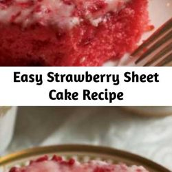This pink cake with mashed sweetened strawberries and strawberry jello just tastes like summertime.