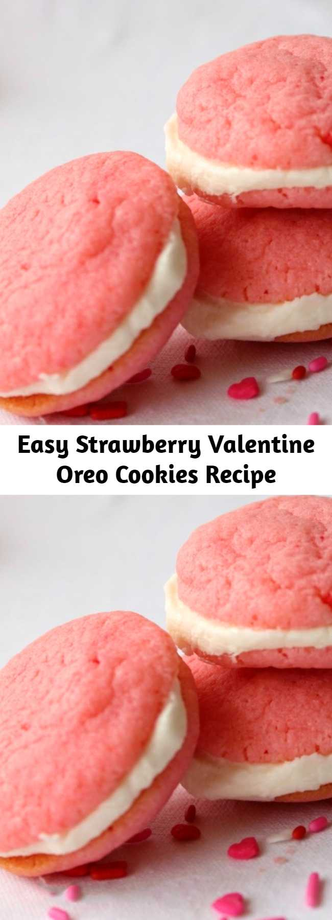 These Strawberry Valentine Oreo Cookies are easy to make and full of delicious strawberry flavor. You are going to love these yummy and simple cookies.