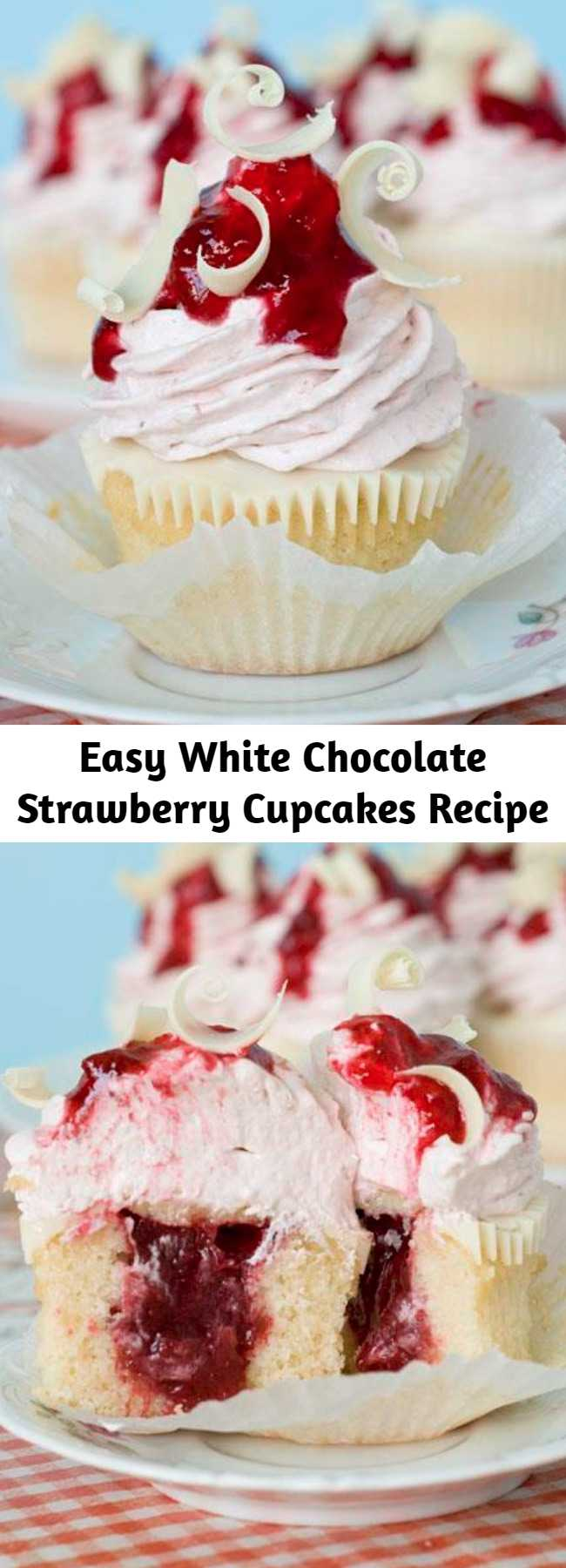 Easy White Chocolate Strawberry Cupcakes Recipe - White Chocolate Strawberry Cupcakes are moist and dense vanilla cupcakes with strawberry filling! Top these decadent cupcakes with a layer of melted white chocolate and some strawberry-white chocolate cream cheese frosting. You won't believe your taste buds when you try these sweet strawberry cupcakes with jam!