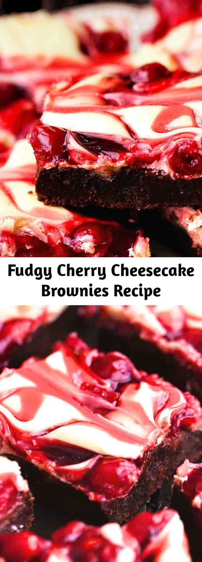 Fudgy Cherry Cheesecake Brownies Recipe - Fudgy brownies with cheesecake and premium Lucky Leaf® pie filling swirled on top! These brownies are rich and creamy and have three delicious desserts in one!