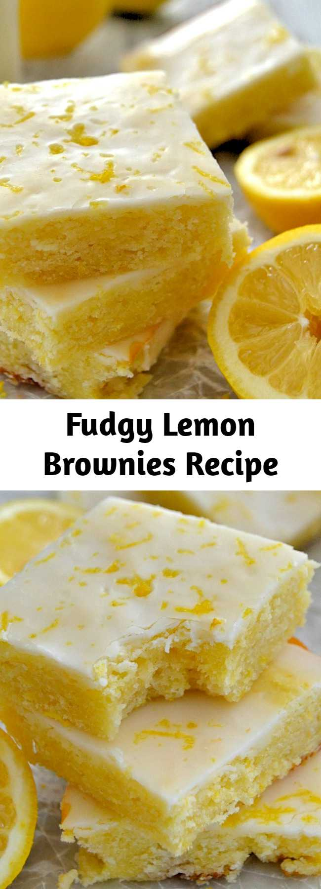 These Glazed Fudgy Lemon Brownies are incredible! Soft, chewy, moist, fudgy and packed with fresh lemon flavor!