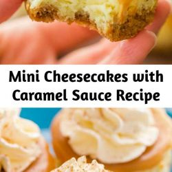 These mini cheesecakes with caramel sauce are delicious! The base is just 3 ingredients. We love the flavor, texture and how completely EASY they were! #cheesecake #dessert #cheesecakerecipe #minicheesecakes