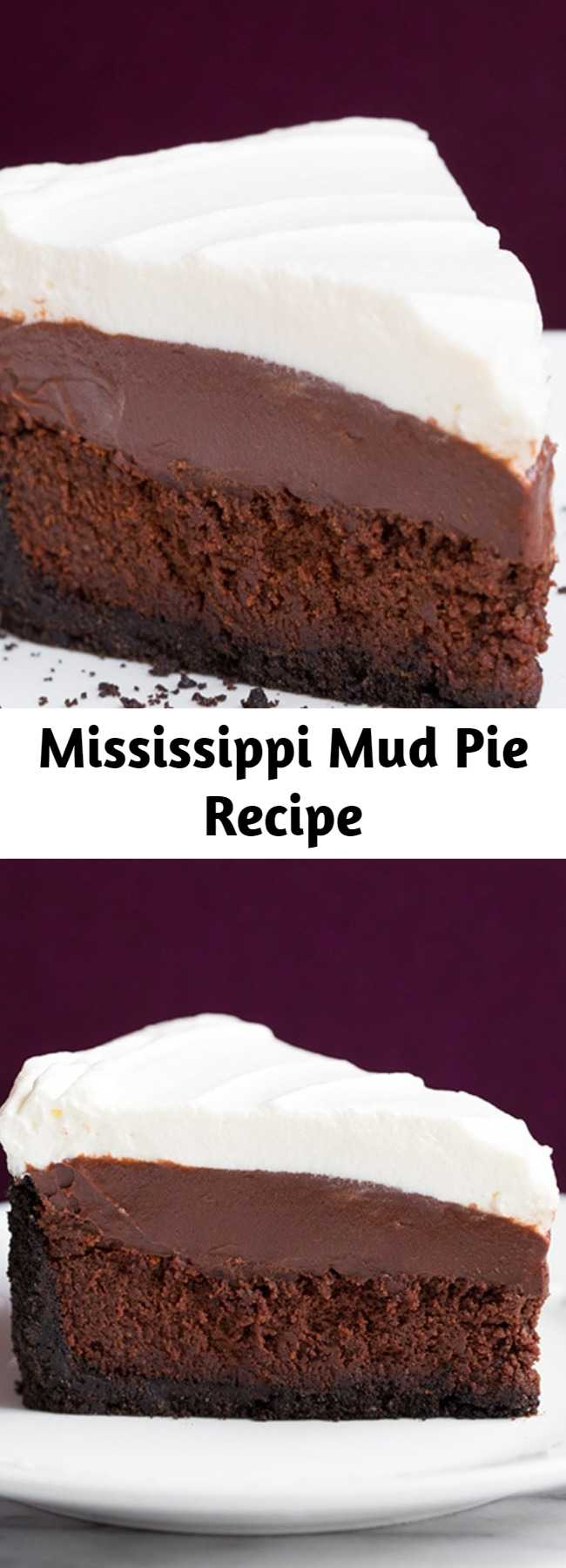 Mississipi Mud Pie – Four layers of utter decadence! You get a crisp Oreo crust, a rich fudgy cake layer, a creamy chocolate pudding and it's finished with a fluffy whipped cream.