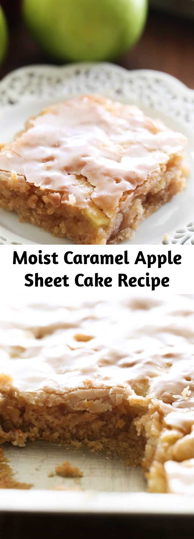 Moist Caramel Apple Sheet Cake Recipe - This delicious apple cake is perfectly moist and has caramel frosting infused in each and every bite! It is heavenly!