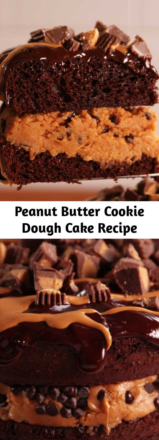 Peanut Butter Cookie Dough Cake Recipe - If you like shoveling mounds of cookie dough into your face, you're going to love this cake. This mashup cake squeezes layers of peanut butter cookie dough in between layers of chocolate cake and it's as amazing as it sounds.