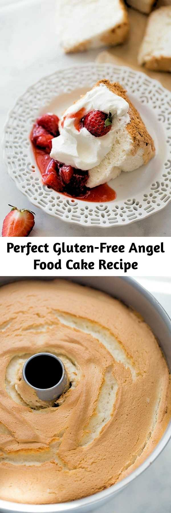 Gluten-Free Angel Food Cake! The best-tasting angel food cake you'll ever eat. Light, fluffy and perfect for your favorite desserts. Nobody will ever guess it's gluten-free!  #angelfoodcake #glutenfree #glutenfreedesserts #glutenfreecake #summerdesserts #glutenfreeangelfoodcake #angelfoodcakedesserts