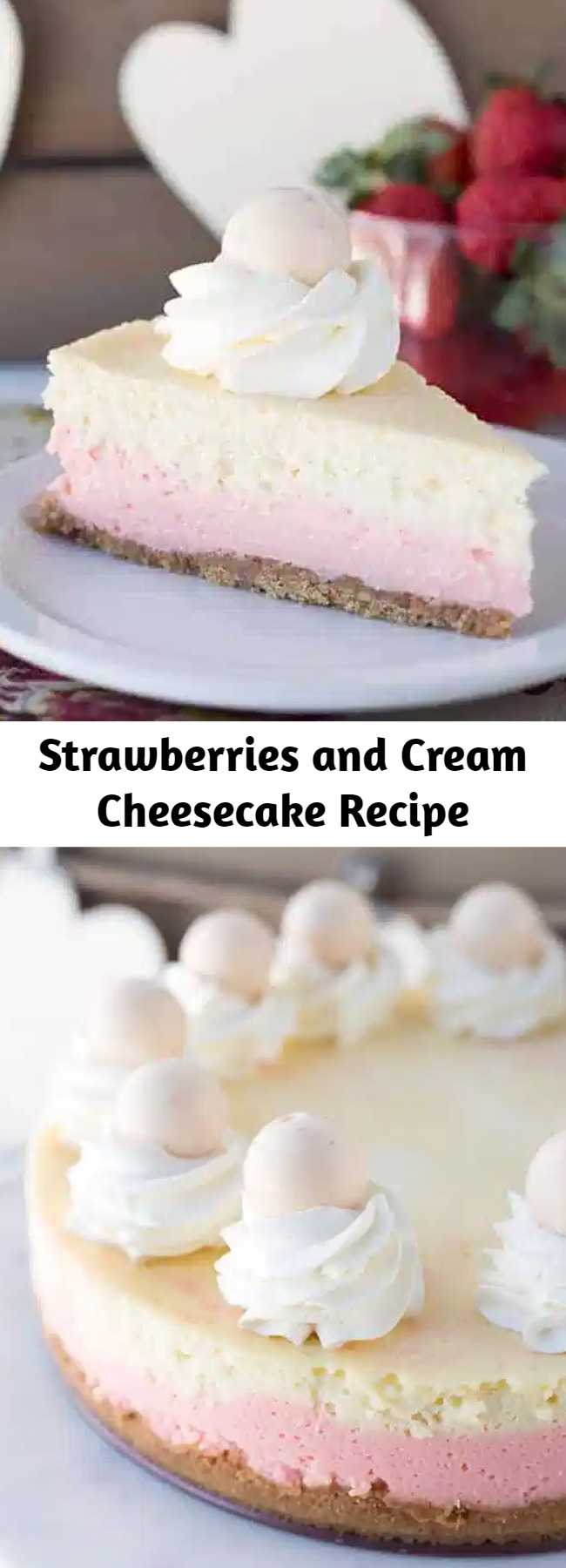 Strawberries and Cream Cheesecake Recipe - This cheesecake is packed full of flavor! There's a cookie crust, pink strawberry cheesecake layer, vanilla cheesecake layer, strawberries and cream truffles baked inside the cheesecake and topped with whipped cream and more strawberries and cream truffles! This is the perfect Valentine's Day cheesecake! #cheesecake #cheesecakerecipes #dessertrecipes #strawberries